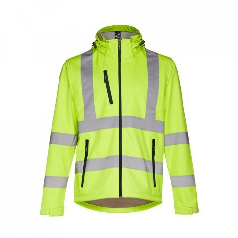 30182.88-S<br> ZAGREB WORK. High-visibility softshell jacket for men, with removable hood